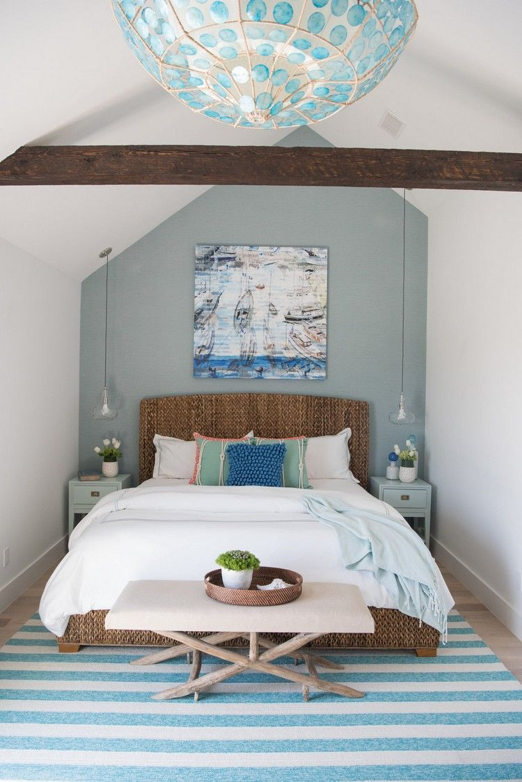 Pin By Ute Moessner On Bedroom Ideas Teal Accent Walls Coastal Bedroom Decorating Coastal Bedrooms