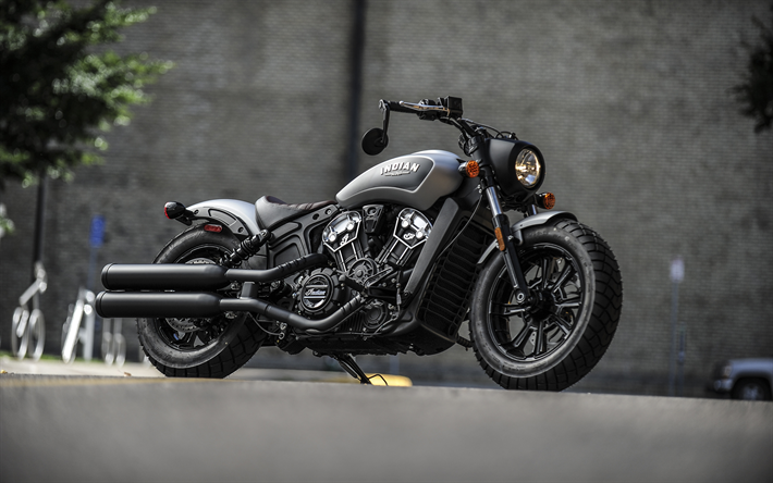 Download Wallpapers Indian Scout Bobber, 2018, Thunder