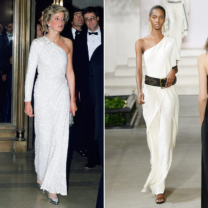 Off The Cuff Then Doyenne Of Dressing Diana Blazed A Trail In This Asymmetric White Gown Embroidered With Translucent Gl Beads And Crystals
