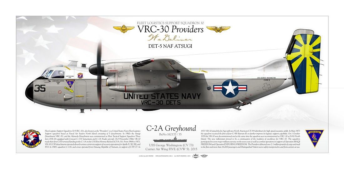 United States Navy Fleet Logistics Support Squadron 30 Vrc 30 Providers Det 5 Naf Atsugi Uss George Washington Cvn 73 Carrier Air Hubschrauber Flugzeug