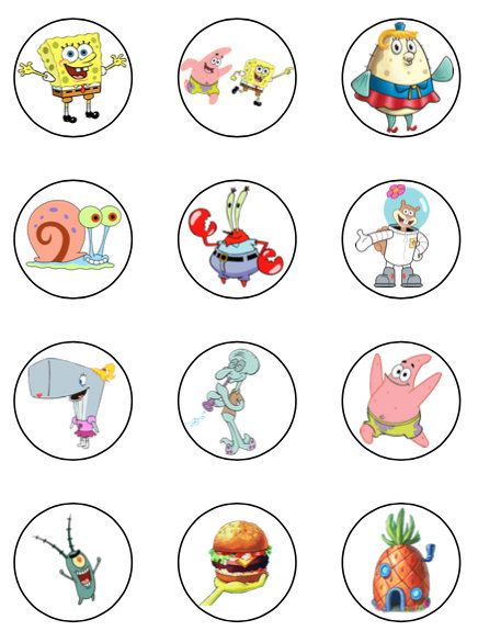 Spongebob cupcake toppers or stickers favor tags digital download 2