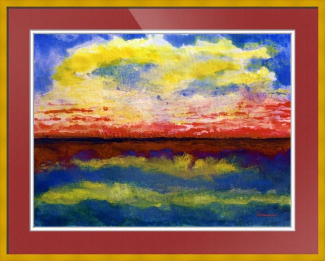 """Seascape+Sunrise+Painting+C""+by+Ricardos+Creations,++//+Seascape+Sunrise+Painting+C4+-+Watercolor+painting,+painted+in+the+fauvism+style.+It+allows+for+big+bold,+larger+than+life+colors+and+the+freedom+to+create+without+boundaries.+//+Imagekind.com+--+Buy+stunning+fine+art+prints,+framed+prints+and+canvas+prints+directly+from+independent+working+artists+and+photographers."