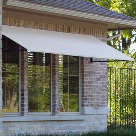 Awntech 5 Ft 4 1 2 In Wide X 3 Ft 6 In Projection White Open Slope Window Door Awning Door Awnings Windows And Doors Backyard Patio