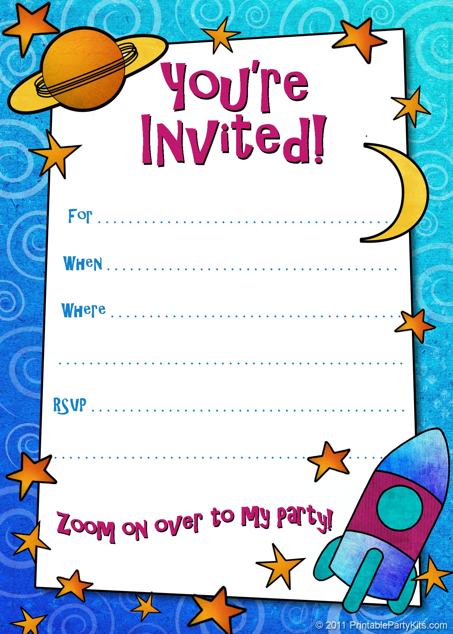 Free Printable Boys Birthday Party Invitations – Printable Birthday Party Invitation Cards