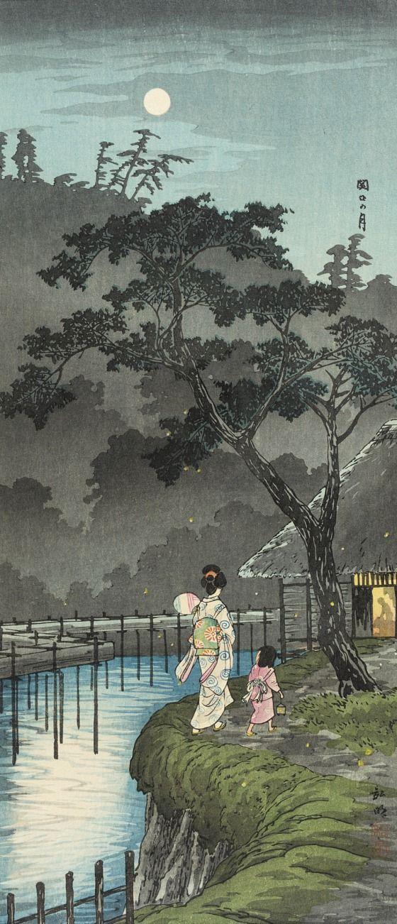 Sekiguchi in Evening Takahashi Shōtei (Hiroaki) (Japan, 1871-1945) Japan, before 1936 Prints; woodcuts Color woodblock print Image: 14 11/16 x 6 7/16 in. (37.31 x 16.35 cm); Sheet: 14 15/16 x 6 11/16 in. (37.94 x 16.99 cm) Gift of Chuck Bowdlear, Ph.D., and John Borozan, M.A. (M.2000.105.51) Japanese Art
