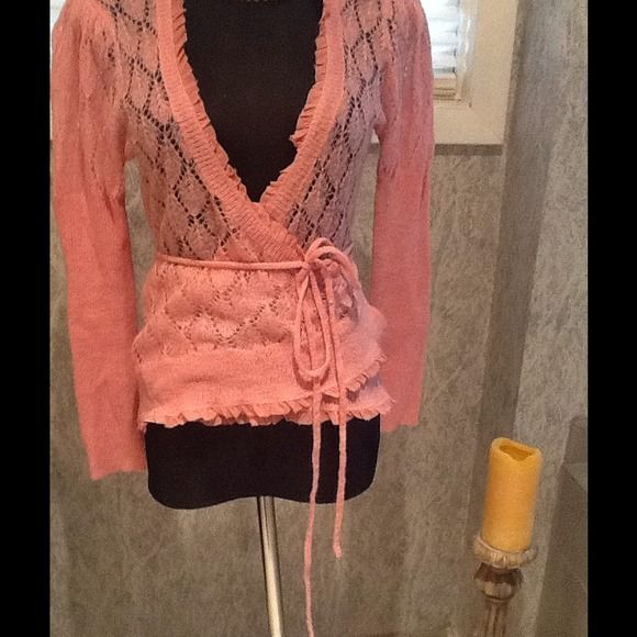 Cashmere and Silk Victoria Secrets Wrap Detailed knitted wrap with silk organza ruffles for the intimate nights. SizeM/L Salmon pinky color... Victoria's Secret Sweaters