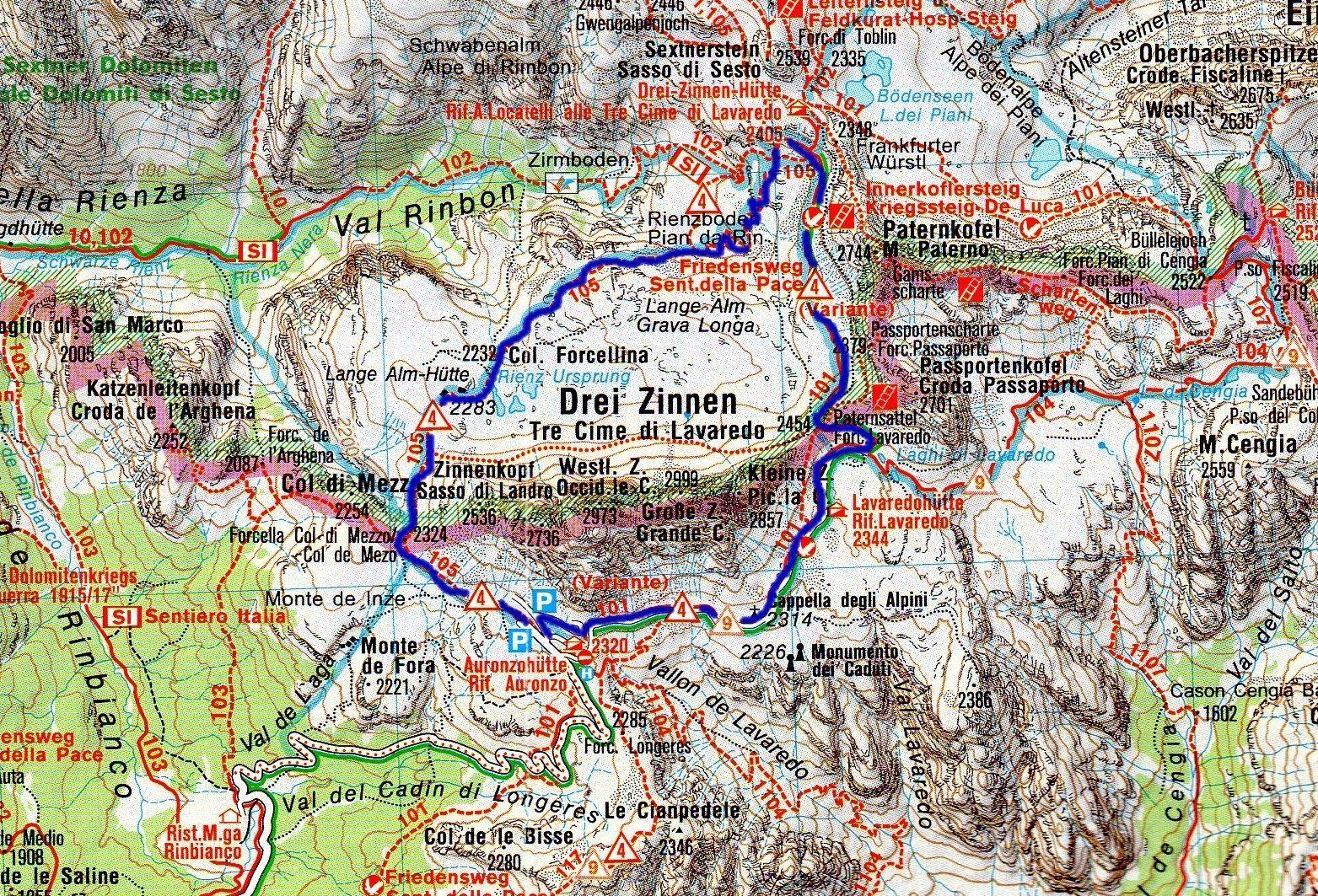 Cartina 3 Cime Di Lavaredo.Montagna Di Viaggi Giro Delle Tre Cime Di Lavaredo Viaggi Cime Montagna