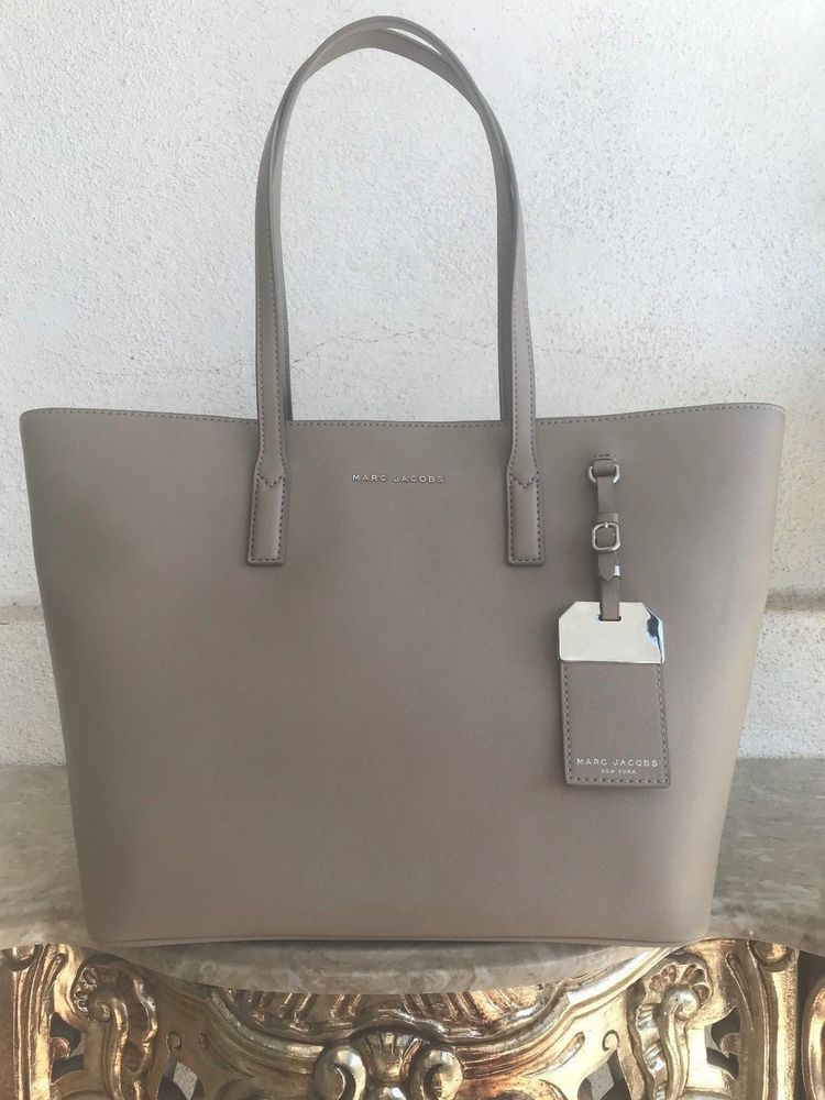 Marc Jacobs  295 Beige NWT LEATHER Luggage Tag Tote Bag Travel Work Purse  be85b0963fec2