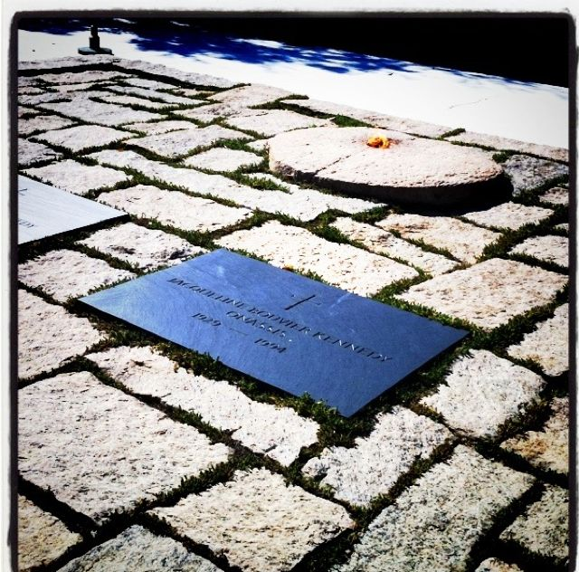 Jacqueline Kennedy/JFK in Arlington. Went to see it just after she died. It was over 100 degrees with 100% humidity that day!