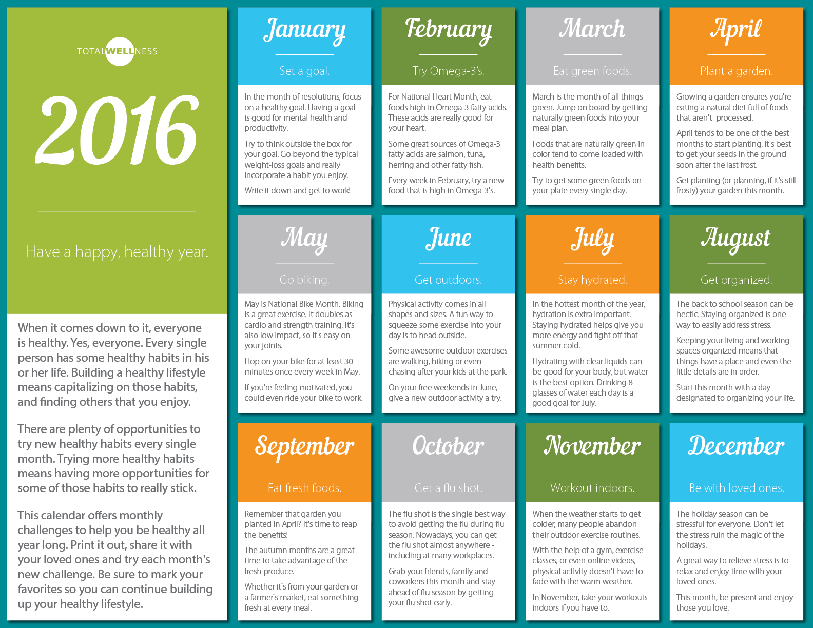Health Calendar Design : Steps for months employee wellness