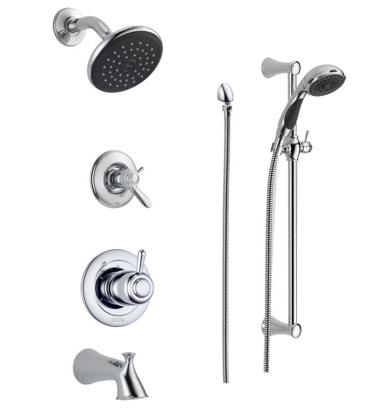 Delta Dss Lahara 17t04 Chrome Tempassure 17t Series Thermostatic Tub And Shower System With Volume Control Shower Head Hand Shower And Slide Bar Includes R In 2020 Shower Systems Shower Tub Hand