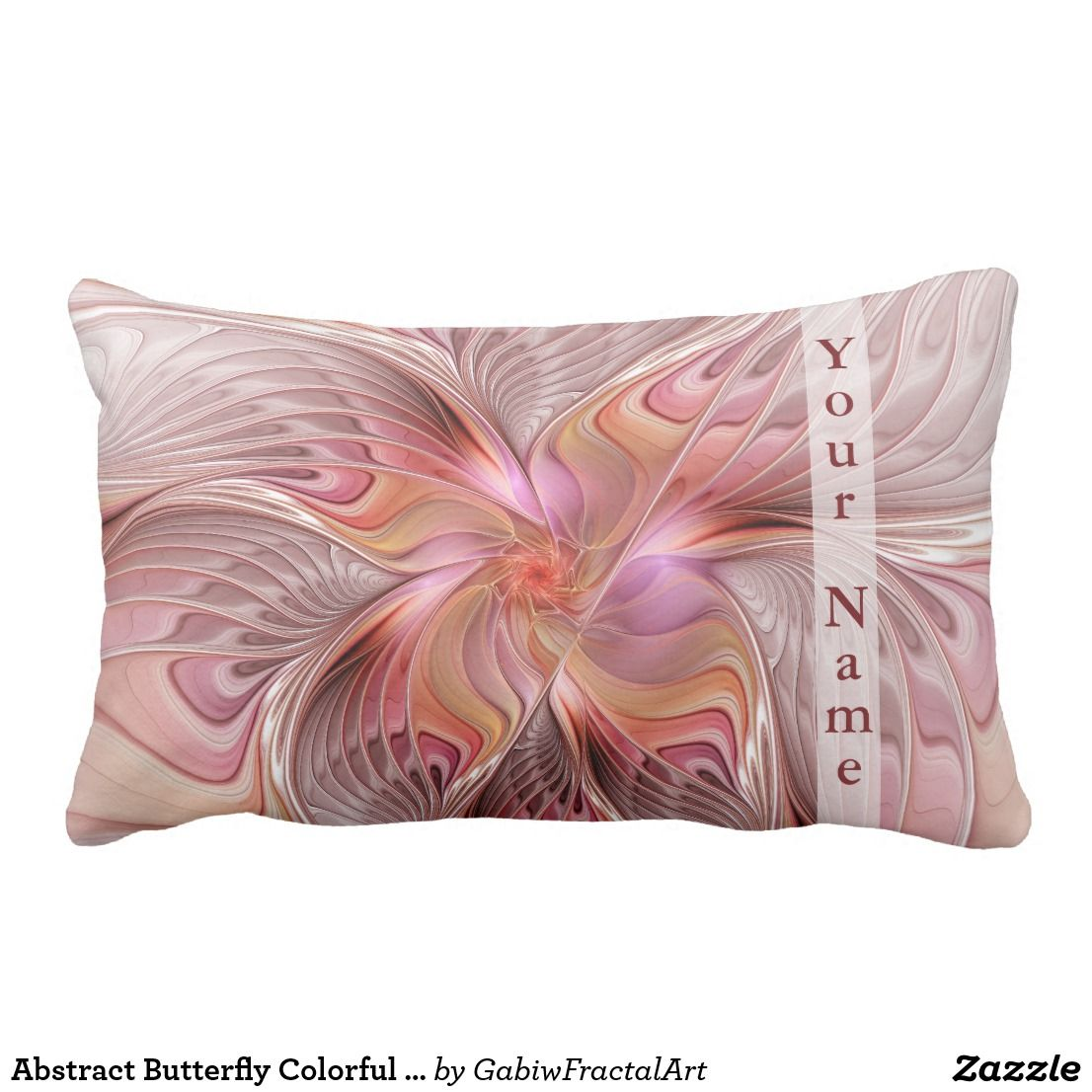 Dekokissen Bunt Abstract Butterfly Colorful Fantasy Fractal Name Lumbar Pillow