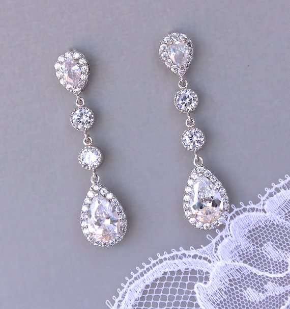 Chandelier Bridal Earrings Crystal Teardrop By Jamjewels1