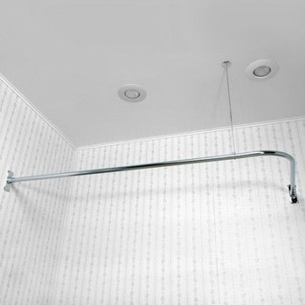 Corner Shower Curtain Rod With 36 Ceiling Support Corner Shower Curtain Rod Shower Curtain Rods Corner Shower