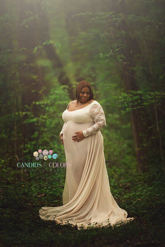 bf0216af067f4 Plus Size Lace Baby Shower Maternity Dress for Photo Shoot Photography Prop Pregnancy  Dress Maternit