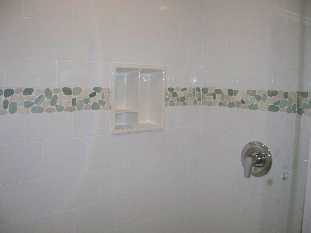 Sliced sea green and white pebble tile shower border tile. https ...