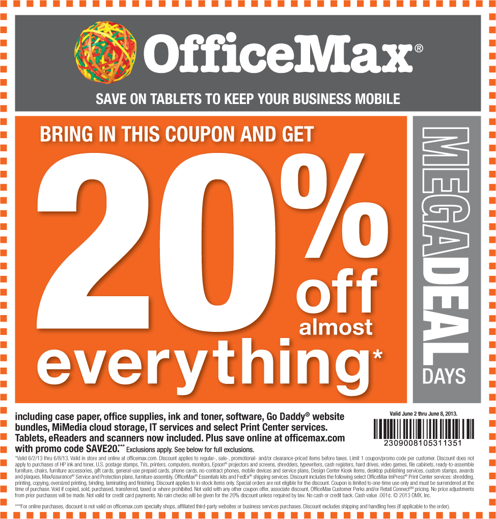 pinned june 3rd 20 off at officemax or online via promo code save20 coupon via the coupons app