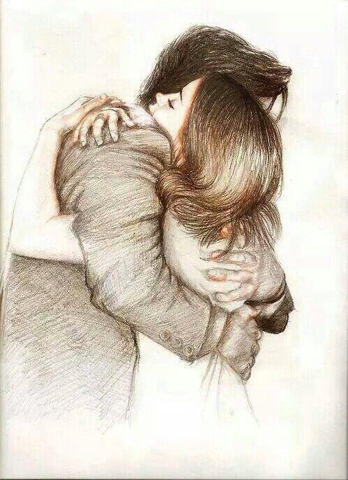 drawing Romantic hug