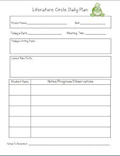 Balanced Literacy Lesson Plan Template | circles lesson