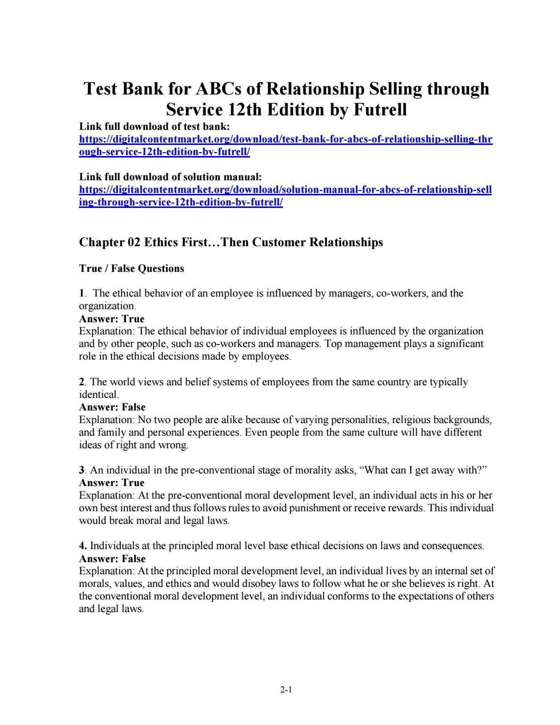 Download test bank for abcs of relationship selling through service 12th  edition by futrell Abcs,