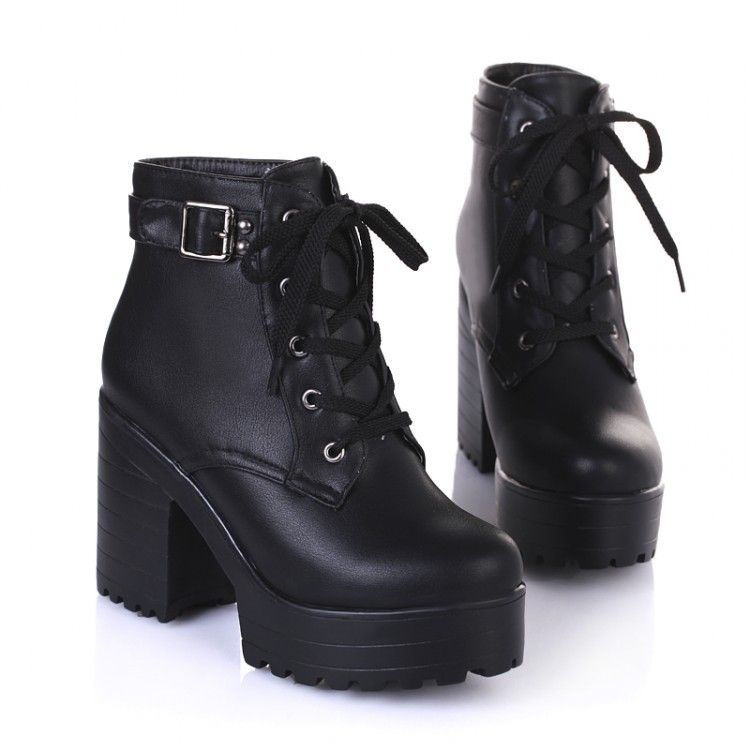8bca78ab979 NEW HOT Womens Punk Chunky Heel Platform lace Up Buckle Strap Ankle Boot  Shoes black white beige big yard size 34~43-in Women s Boots from Shoes on  ...