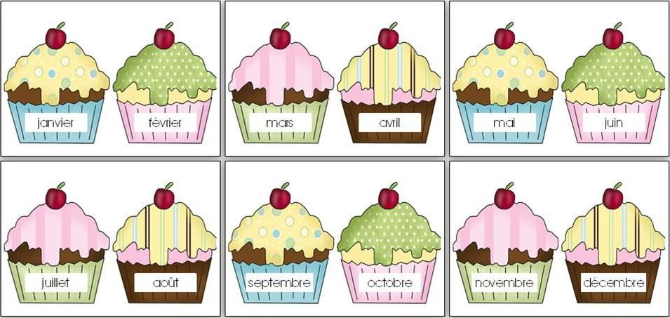 Birthday Chart Cupcakes In French