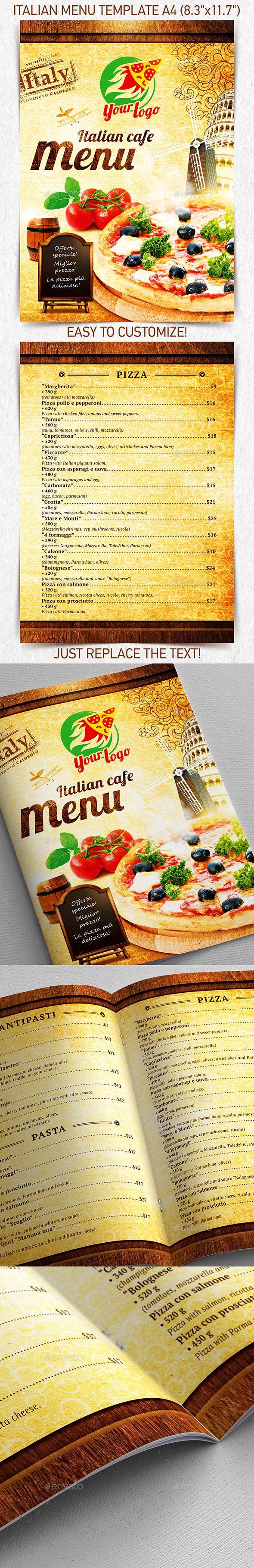 Italian Menu Template Vol  Menu Templates Food Menu And Print