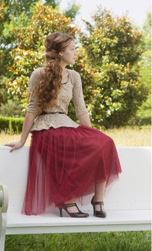 Modest mid length solid tulle skirt in magenta