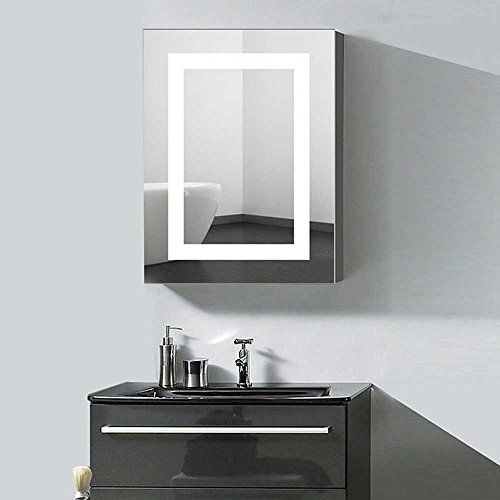 Decoraport 24 X 32 In Vertical Led Lighted Mirror Cabinet Wall Mount Illuminated Medicine Cabinet With Mirror Cabinets Mirror Wall Bathroom Adjustable Shelving