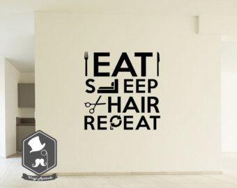 Eat Sleep Cut Hair Repeat Stylist Hairdresser Salon Word Art Wall Picture  Decal Sticker Home Décor Improvement Decoration