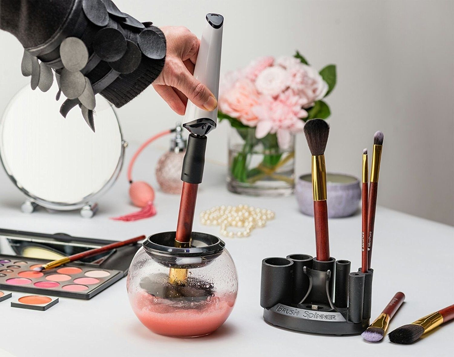19 Of The Coolest Things On Amazon Launchpad Right Now is part of Makeup brush cleaner, Brush cleaner, Cleaning gadgets, Makeup brushes, Makeup yourself, Wash n dry - Featuring an automated makeup brush cleaner, reusable smart notebook, foodie dice, and 16 other products you should check out ASAP