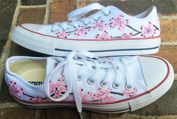 Converse, Low Top Converse, Handpainted Sneakers, Cherry