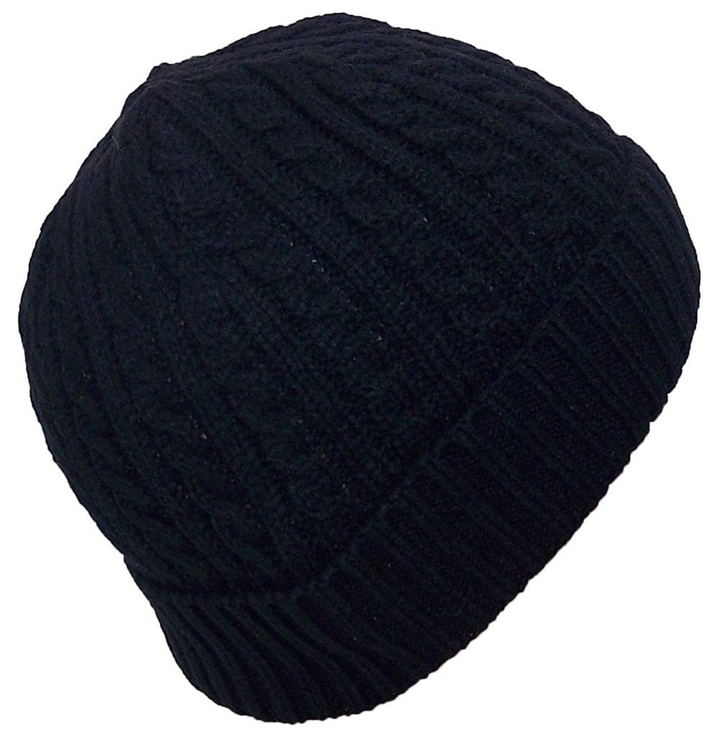 236588b7655 Adult Tight Cable   Rib Knit Cuffed Winter Hat (One Size) - Black ...