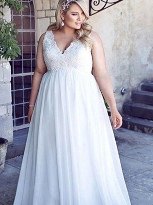 Aline V Neck Floor Length Chiffon Plus Size Bridal Dress