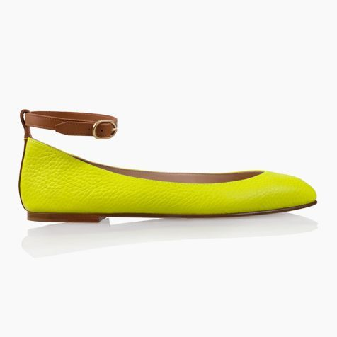 TORINO - Lime Calf Leather with Chocolate Leather Ankle Strap. Handmade in Italy.
