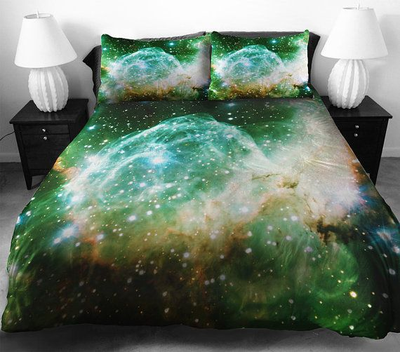 Grenn galaxy bedding set ,including a duvet cover ,a bed sheet or a fitted sheet ,and two matching pillow covers on Etsy, $148.00