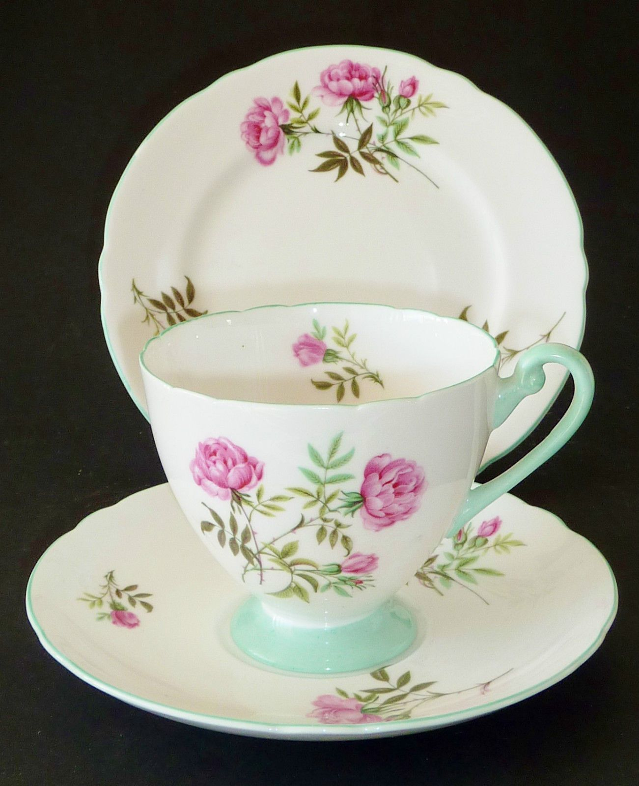 VINTAGE Shelley HIGH TEA EGLANTINE Rose TRIO cup saucer plate ENGLISH CHINA XC in Pottery, Glass, Pottery, Porcelain, Shelley | eBay