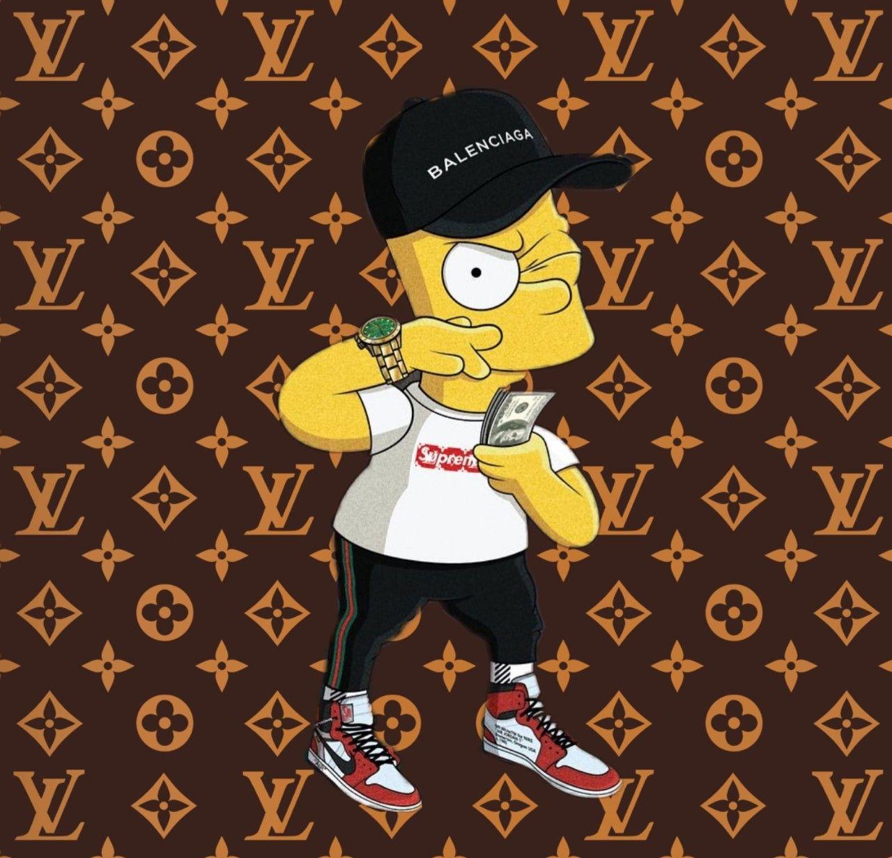 Bartsimpson Thesimpsons Hypebeast Supreme Louisvuitton Rolex Nike Bart Simpson Art Simpsons Art Cartoon Wallpaper
