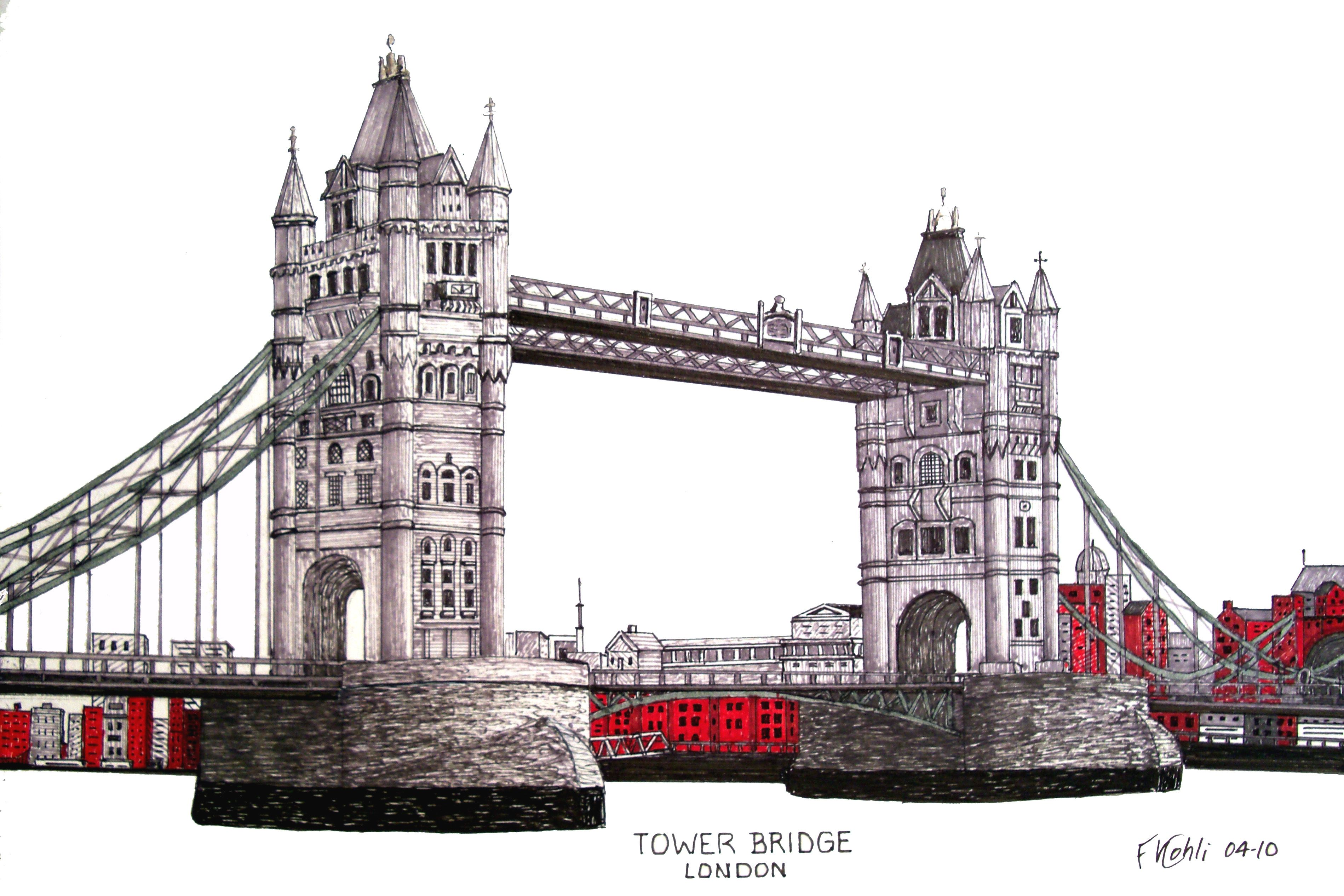 architectural drawings of bridges. TOWER BRIDGE - Pen And Ink Drawing Of The Historic Tower Bridge Over Thames River Architectural Drawings Bridges Y