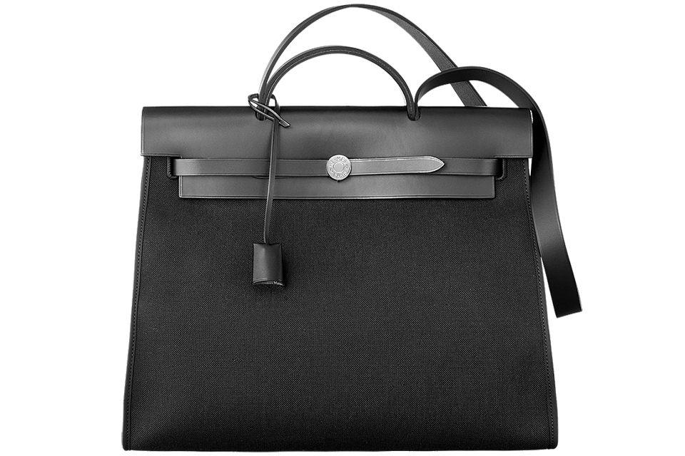 Hermes Herbag Zip Black Canvas Bag