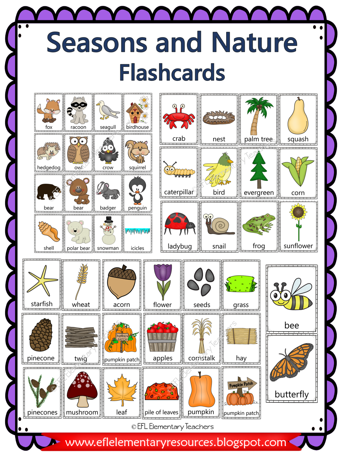Esl Seasons And Nature Vocabulary In