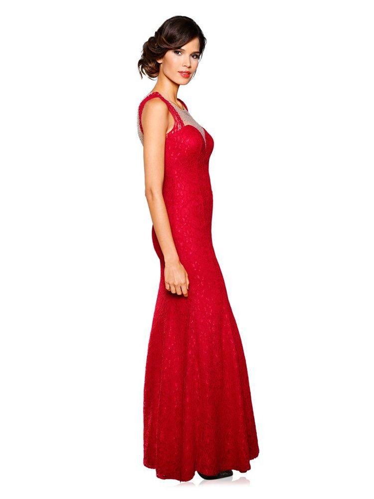 7237e51e8bb Robe de soirée longue rouge à décolleté en coeur