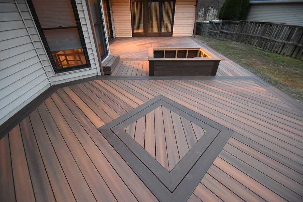 Fiberon deck in Ipe with Diamond Deck Inlay Multi Color