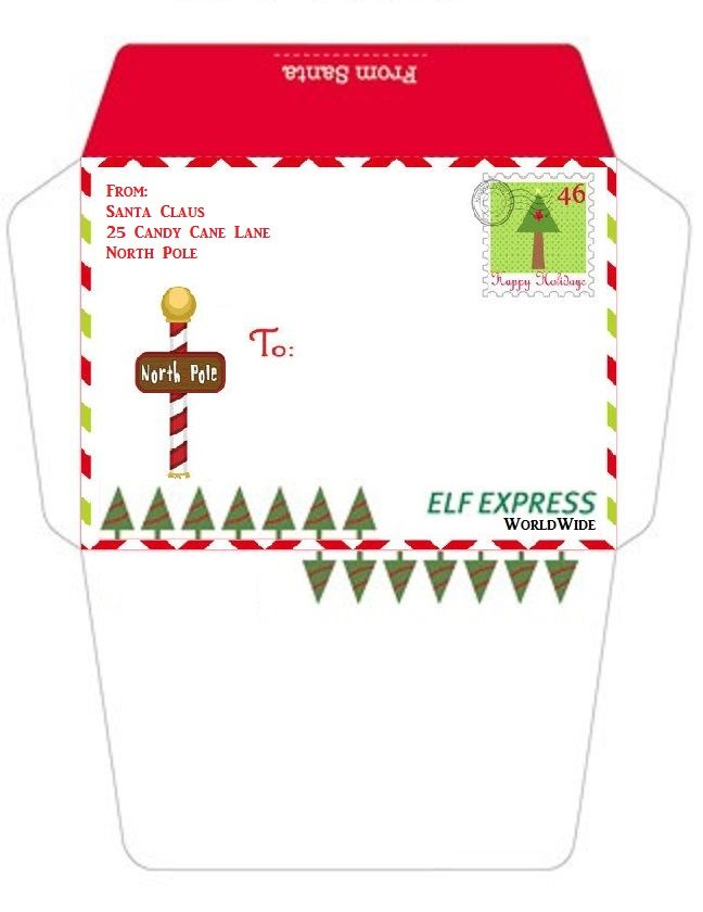 printable envelope from the north pole the shelf on the elf elf