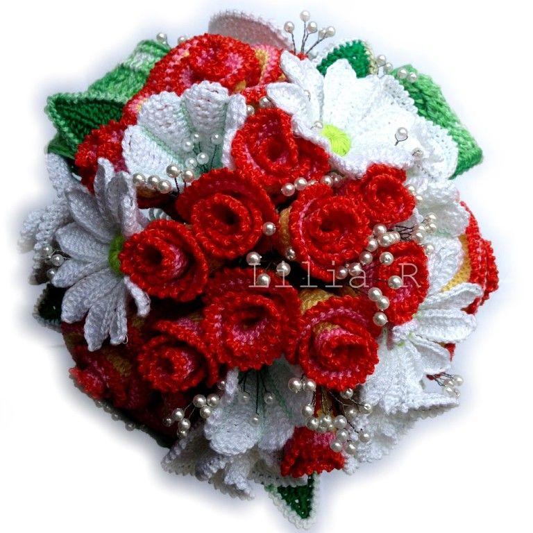 Вязаные цветы букеты фото