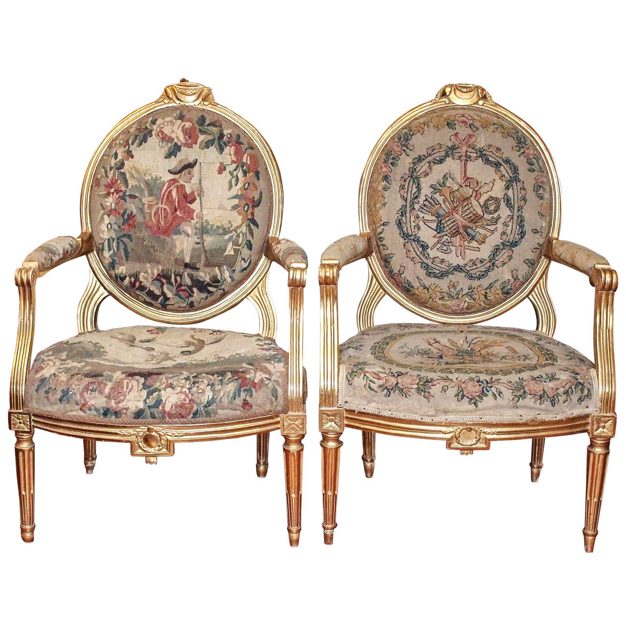 Pair Of Period Louis Xvi Gilt Oval Back Chairs Antique French Furniture Armchair Outdoor Dining Chair Cushions