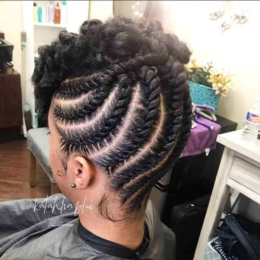 11 Natural Hair Flat Twist Styles To Try In 2020 Thrivenaija In 2020 Flat Twist Hairstyles Natural Hair Flat Twist Hair Twist Styles