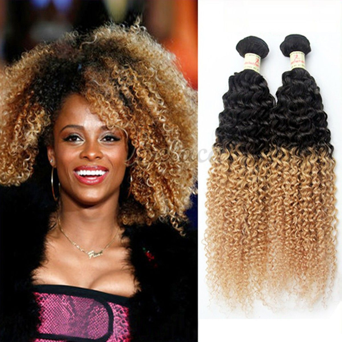 3 Bundles Two Tone Color 1b27 Kinky Curly Ombre Weave Hair
