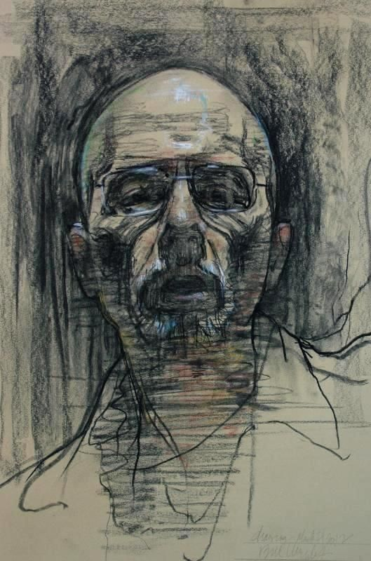 Bill Murphy 17 x 22, 2012 self portrait at 60, (drawing), charcoal with pastel.