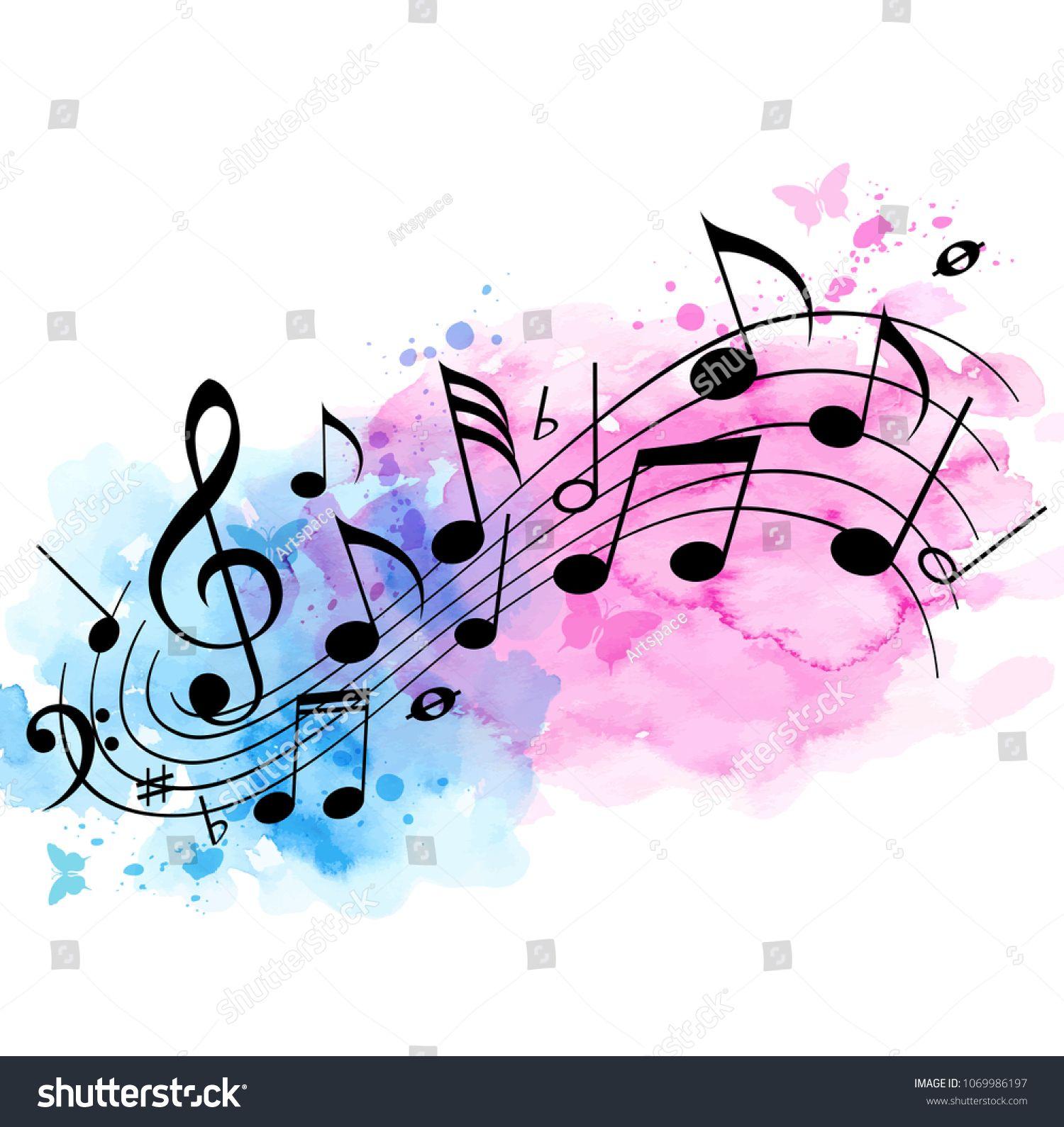 Abstract Vector Music Background With Notes And Watercolor Texture Music Vector Ab Imagenes De Notas Musicales Notas Musicales Dibujos Fotos De Notas Musicales